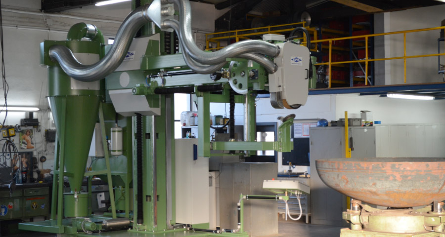 Belt grinding machine for the processing of edges and chamfers on boiler bottoms (KFSM – 10000)