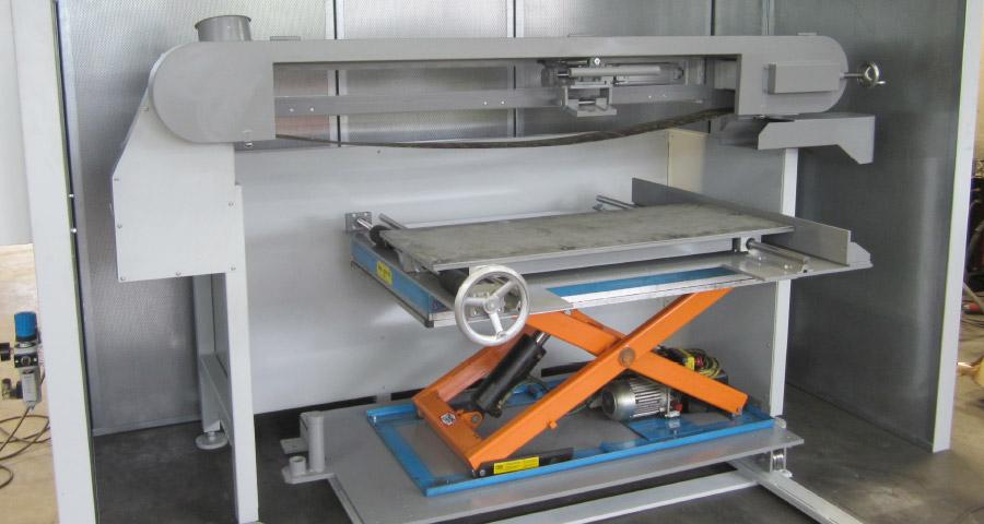 Bandschleifmaschine mit Schleifschuh zur Oberflächenbearbeitung an Blechzuschnitten (BSM OB-4500) Flächenbearbeitung