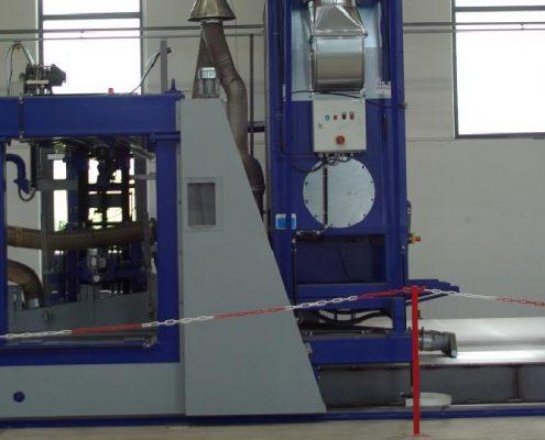 Portalbandschleifmaschine zum Bearbeiten von Schalblechen (BSM-P-S-S-A) Flächenbearbeitung