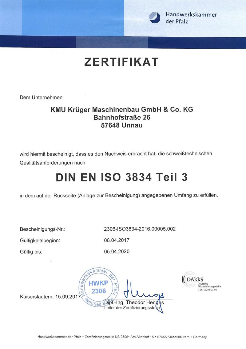 Qualitätsanforderungen nach DIN EN ISO 3834 Teil 3 Qualifikationen