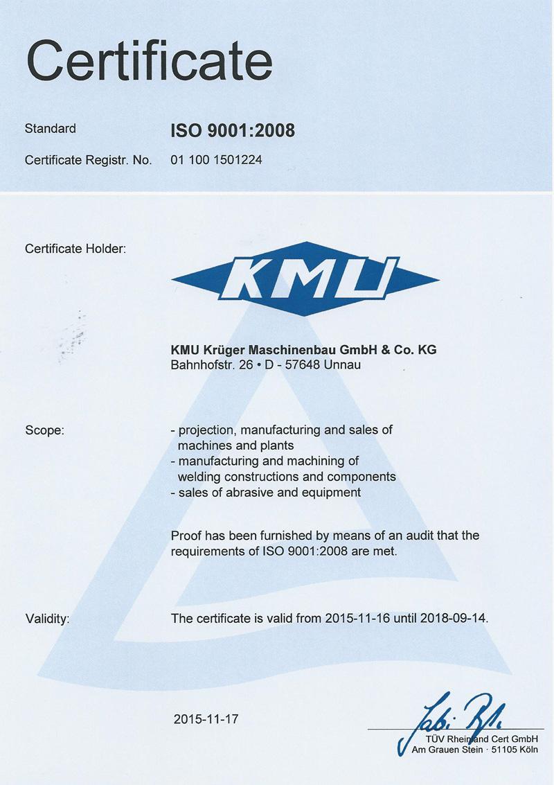 Herstellung von Maschinen & Anlagen nach ISO 9001:2008 Qualifikationen